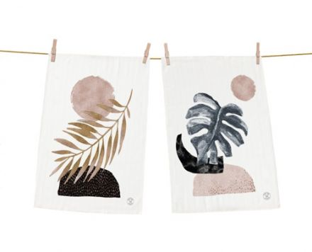 dish towels cotton glossy leaf