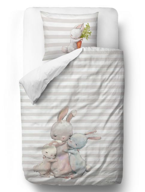 Povlečení Forest School - Hugging Bunnies blanket: 100 x 130 cm  pillow: 60 x 40 cm
