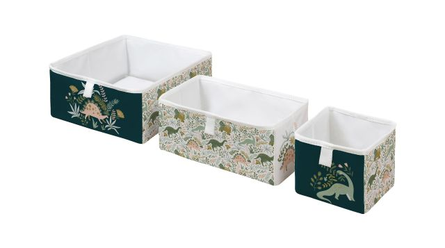 storage boxes set of 3 friendly dinosaurs