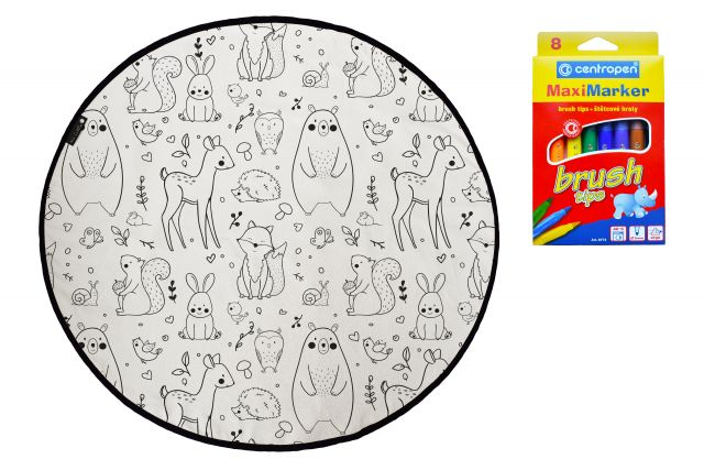 Colouring canvas rug field full of animals