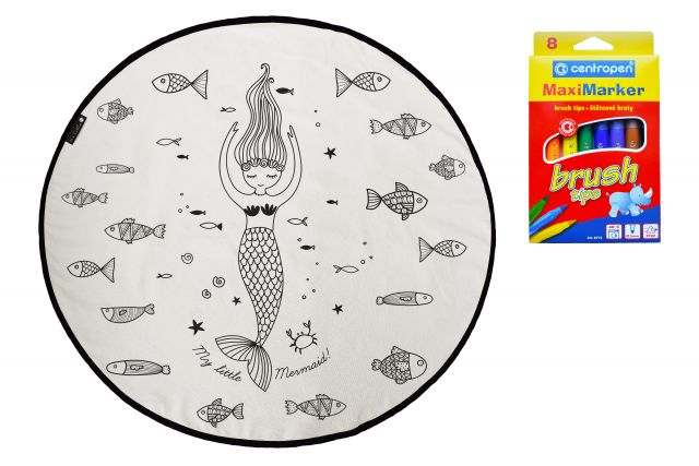 Colouring canvas rug surrounded by fish