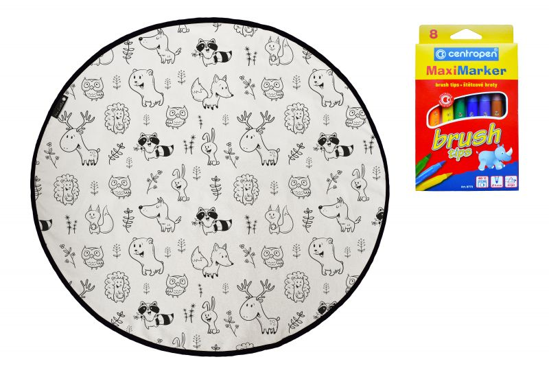 Colouring canvas rug field with animals