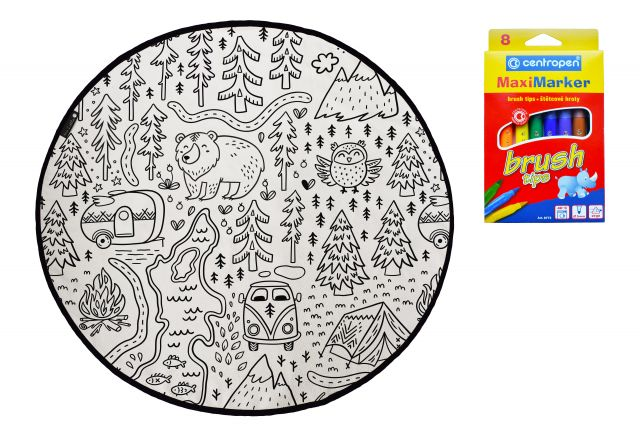 Colouring canvas rug camping