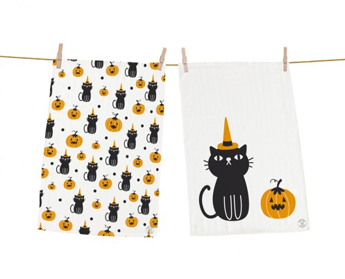 Dish towel sets kitty witch