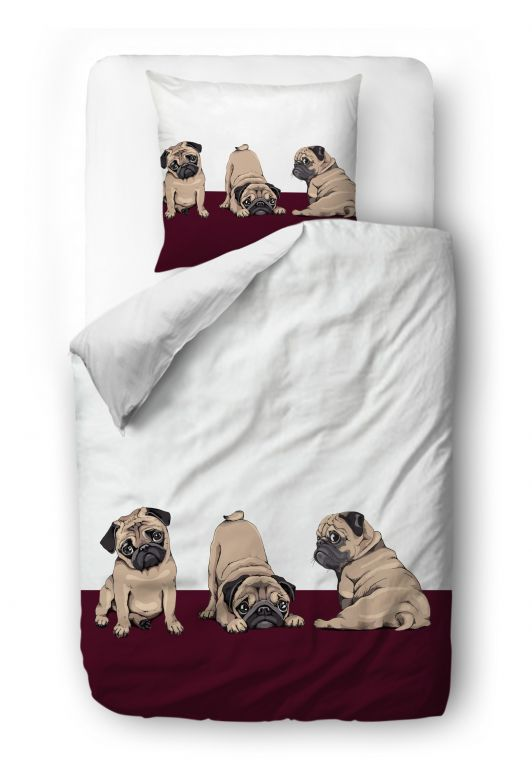 Povlečení three pugs blanket: 140 x 200 cm  pillow: 90 x 70 cm