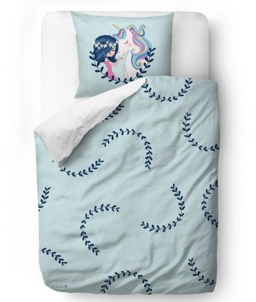 bedding set girl and unicorn blanket: 200 x 200 cm  2 x pillow: 60 x 50 cm