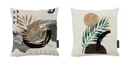 cushion canvas set glossy plant