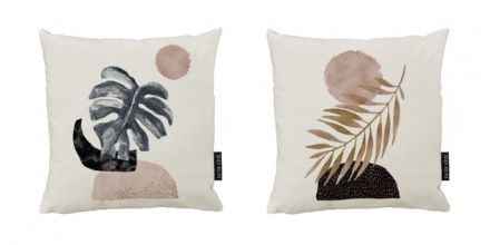 cushion canvas set glossy leaf